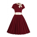 Ladies' Retro Short Sleeve Bow Tie Collar Contrasted Midi Pleated Swing Dress