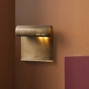Contemporary 1 Head Sconce Light Brass Bend Wall Mounted Lighting with Metal Shade