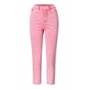 Cute Fashion Girls' High Rise Ankle Length Skinny Fit Jeans in Pink