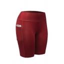 Basic Women's Mid Rise Pockets Side Plain Skinny Fit Shorts