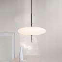 Circle Pendant Lamp Contemporary White Glass 1 Head Dining Room Hanging Ceiling Light