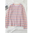 Girls Lovely Rainbow Stripe Printed Long Sleeves Round Neck Loose Fit Casual T-Shirt