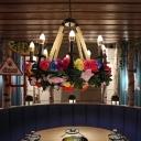 Hemp Rope Black Chandelier Lamp Candelabra 6 Bulbs Antique LED Flower Hanging Ceiling Light for Restaurant