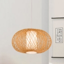 Beige Pumpkin Ceiling Lamp Japanese 1 Head Bamboo Hanging Light Fixture with Inner White Tube Parchment Shade