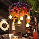 Bare Bulb Metal Chandelier Lighting Industrial 6 Lights Restaurant LED Ceiling Lamp in Pink with Cherry Blossom