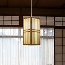 Rectangular Pendant Light Japanese Wood 1 Head Ceiling Suspension Lamp in Beige for Tearoom