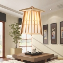 Tapered Pendant Light Chinese Wood 1 Bulb Ceiling Suspension Lamp in Beige for Teahouse