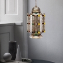 6 Heads Castle Chandelier Lighting Antiqued Brass Metal Ceiling Hang Fixture with Seeded Glass Shade