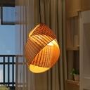 Flaxen Twist Ceiling Lamp Japanese 1 Head Bamboo Hanging Pendant Light for Restaurant