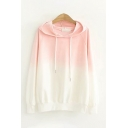 Womens Creative Ombre Printed Long Sleeves Relaxed Fit Drawstring Hoodie