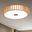 Chinese Drum Flush Light Wood 3 Heads Close to Ceiling Lamp in Beige for Living Room