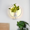 Black/White 1 Light Wall Lighting Industrial Metal Round/Oval LED Wall Sconce in Warm/White/3 Color Light without Plant
