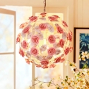 Pink 1 Bulb Pendant Light Fixture Pastoral Metal Globe Hanging Lamp for Dining Room, 14