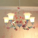 White Glass Blossom Chandelier Lighting Country Style 6 Heads Living Room Pendant Light Fixture