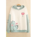 Girls Lovely Cartoon Monster Heart Printed Long Sleeves Relaxed Fit Colorblocked Hoodie