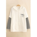 Fancy Cat Printed Stripe Patched Long Sleeves False Two Piece Thin Drawstring Hoodie