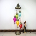 Brass 5 Bulbs Stand Light Traditional Metal Rotate Floor Lamp with Teardrop Colorful Glass Shade