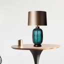 Contemporary 1 Bulb Small Desk Lamp Blue Cylindrical Task Lighting with Fabric Shade
