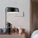 Contemporary 1 Bulb Desk Lamp Black Cylinder Reading Book Light with Metal Shade