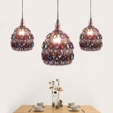Rust 1 Light Suspension Lamp Traditional Metal Dome Pendant Light Fixture for Restaurant