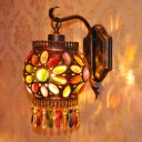 Rounded Drum Sconce Light Decorative Metal 1 Bulb Wall Mounted Lighting in Rust