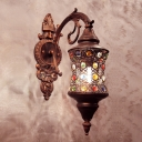 1 Bulb Jar Wall Lamp Traditional Copper Metal Sconce Light Fixture with Carved Backplate