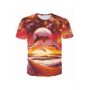 Men's Exclusive Galaxy Dolphin Sunset 3D Pattern Short Sleeve Round Neck Orange T-Shirt