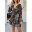New Trendy Leopard Printed Bell Sleeves V-Neck Drawstring Waist Mini A-Line Ruffle Dress
