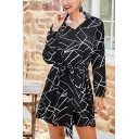 Creative Geometric Printed Lapel V-Neck Long Sleeve Gathered Waist Mini Shirt Dress in Black