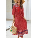 Ladies' Ethnic Three-Quarter Sleeves Tied Neck All Over Flower Printed Ruffled Long A-Line Dress