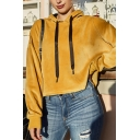 Designer Cool Yellow Long Sleeve Drawstring Velvet Loose Fit Crop Hoodie