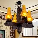 Amber Crackle Glass Vase Chandelier Lighting Industrial 5 Lights Living Room Pendant in Black
