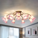 Flared Bedroom Semi-Flush Mount Light Traditional White/Purple Glass 12 Bulbs LED Gold Close to Ceiling Lighting Fixture