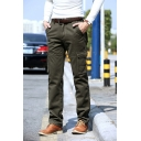 Men's Casual Solid Color Multi Pockets Wide-Leg Pants Thick Cargo Pants