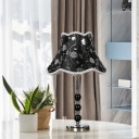 Fabric Black Night Lamp Empire Shade 1 Head Traditionalism Table Light with Crystal Bead Accent