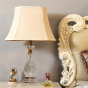 Fabric Flared Table Light Traditionalist Single Head Restaurant Nightstand Lamp in Beige