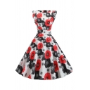 Vintage Women's Ruffle Trim Boat Neck Zip Back All Over Floral Print Long Pleated Swing Dress