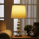 1 Head Barrel Table Lamp Traditional Clear Crystal Bead Nightstand Light with White Fabric Shade