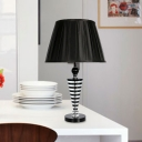 1 Head Table Lamp Antiqued Living Room Night Light with Barrel Fabric Shade in Black