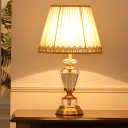 Traditionalist Drum Nightstand Light Single Bulb Fabric Table Lamp in Beige with Braided Trim