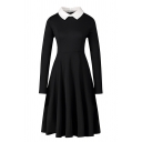 Formal Retro Long Sleeve Lapel Neck Zipper Back Plain Midi Pleated A-Line Dress for Female