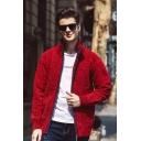 Men's Street Fashion Long Sleeve Zip Up Plain Chenille Knit Cardigan Coat