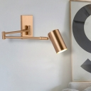 Contemporary Tube Sconce Light Metal 1 Bulb Wall Lighting Fixture in Gold with Adjustable Arm