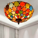 2/3 Lights Flush Mount Spotlight Tiffany Style Bowl Stained Glass Flush Ceiling Light Fixture in Red, 12