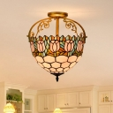 2 Lights Flower Semi Flush Mediterranean Beige Stained Glass Close to Ceiling Lighting for Dining Room