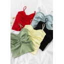 Solid Color Pleated Front Spaghetti Straps Knitted Fitted Tank Top