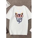 Creative Cartoon Owl Number 9 Printed Short Sleeves Crewneck Leisure T-Shirt