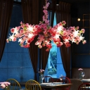 Metal Blossom Pendant Chandelier Antique 16 Bulbs Restaurant LED Ceiling Suspension Lamp in Pink/Yellow/Purple