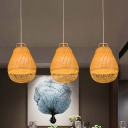 Bamboo Pear Hanging Light Japanese 1 Head Beige Ceiling Suspension Lamp for Tearoom