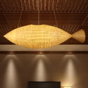 Japanese Handcrafted Pendant Chandelier Bamboo 2 Heads Hanging Ceiling Light in Beige